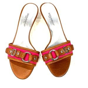 EUC Dolce Gabbana Brown Leather & Hot Pink Mules